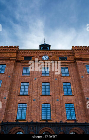 Beautifully renovated facade of an old textile factory - Stock Photo