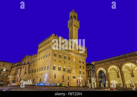 Florence, Italy. Palazzo Vecchio at twilight. - Stock Photo
