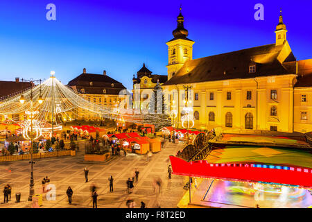 Sibiu, Transylvania. Romania. Christmas market in the Big Square, medieval town of Sibiu. - Stock Photo