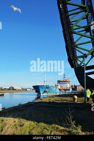 The bridge pictured here is the Duke Street Bridge, in Birkenhead Docks, Wirral, UK -  A bascule bridge - Stock Photo