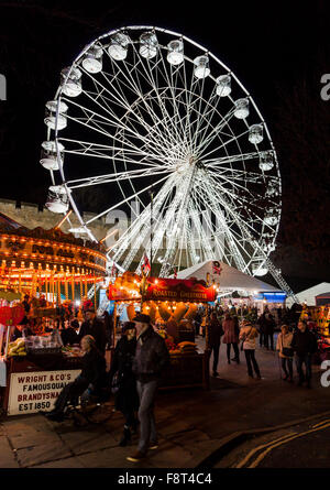The Ferris wheel at Lincoln Christmas Market, just outside Lincoln Castle, Lincoln, Lincolnshire - Stock Photo