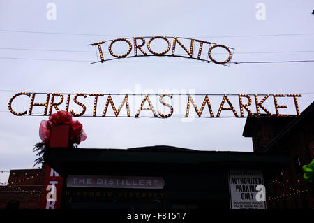 The Christmas Market in the Distillery District in Toronto. - Stock Photo