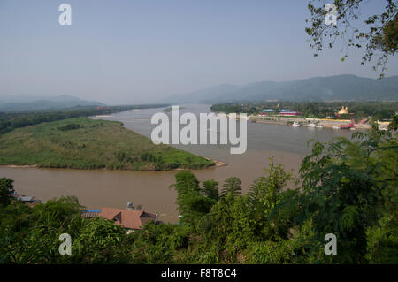 Mekong River at the Golden Triangle between Myanmar, Thailand and Laos Southeast Asia - Stock Photo