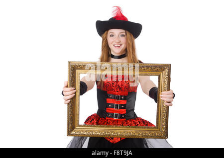 Woman Pirate With Picture Frame Isolated On White Stock Photo