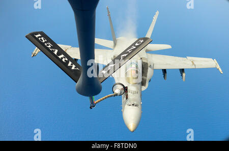 McDonnell Douglas F/A 18C Hornet fighter jet aircraft, A Navy F/A 18C Hornet from Strike Fighter Squadron 34 (VFA - Stock Photo