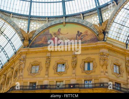 Milan, Milan Province, Lombardy, Italy.  Galleria Vittorio Emanuele II shopping arcade. Allegorical fresco representing - Stock Photo