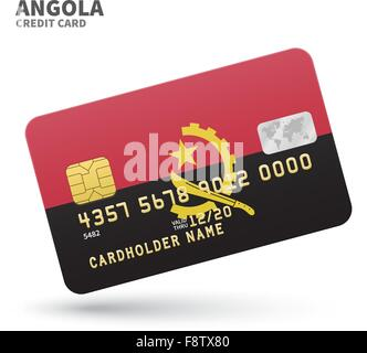 Credit card with Angola flag background for bank, presentations and business. Isolated on white - Stock Photo