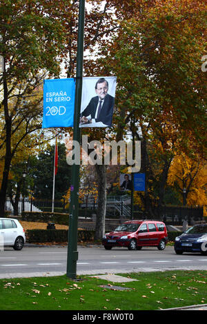 Madrid, Spain 11th December 2015: A campaign banner for the current Spanish Prime Minister Mariano Rajoy and the - Stock Photo