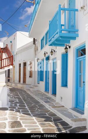 White painted houses in Mykonos Town, Chora, Mykonos Island, Greece - Stock Photo