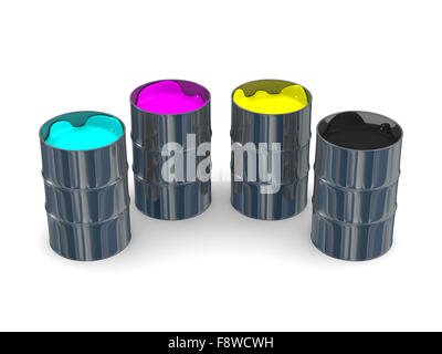 Paint CMYK in vats. Isolated 3D image - Stock Photo