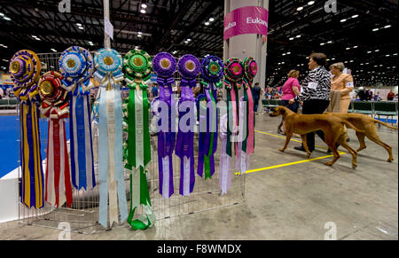 Orlando, Florida, USA. 11th Dec, 2015. Ribbons for the winners are displayed at the 2015 AKC/Eukenuba Championships. - Stock Photo