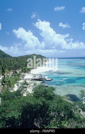 Fiji Islands, Wayaka Island, Wakaya Club, view from island hilltop lookout, pier, beach, reef