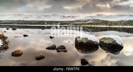 Loch Morlich Winter in the Cairngorms National Park of Scotland. - Stock Photo