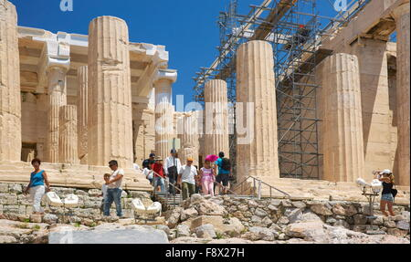 Athens - Acropolis, passage through the Propylaea, Greece - Stock Photo