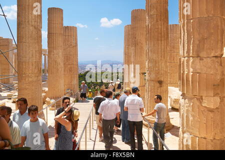 Athens - Acropolis, passage through the Propylaea, Greece - Stock Photo