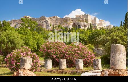 View to Acropolis from ancient Agora, Athens, Greece - Stock Photo