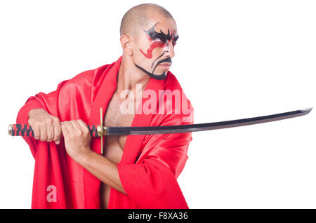 Man with sword isolated on white - Stock Photo