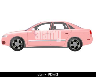pink auto against white - Stock Photo