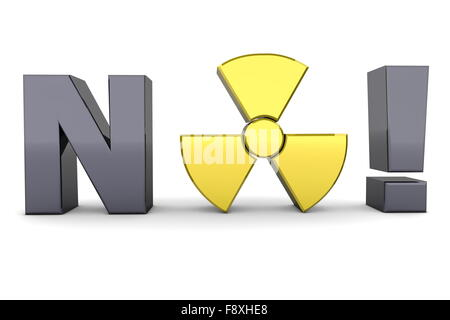 Black Word NO! - Yellow Nuclear Symbol - Stock Photo