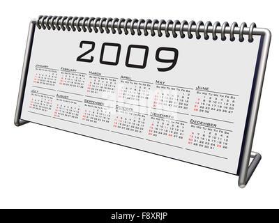 Alluminium and Chrome Desktop calendar 2009 - Stock Photo