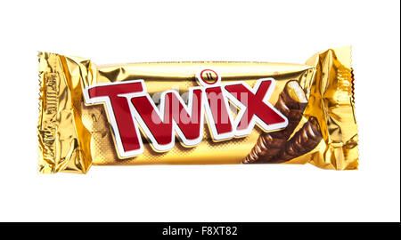 Twix Chocolate Bar Isolated On White. Twix is a chocolate bar made by Mars - Stock Photo