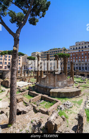 Roman ruins in the Largo di Torre Argentina, Rome, Italy - Stock Photo