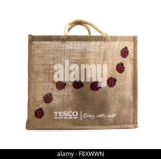 Tesco reusable Bag for Life on a white background - Stock Photo