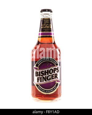Bottle of Bishops Finger real ale brewed by Shepherd Neame Britain's oldest brewer 1698 - Stock Photo