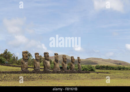 Photograph of the moais at Ahu Akivi on Easter Island in Chile. - Stock Photo