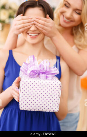 Girls having fun during birthday celebration - Stock Photo