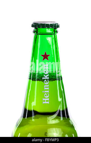 Bottle of Heineken Beer on a white background - Stock Photo