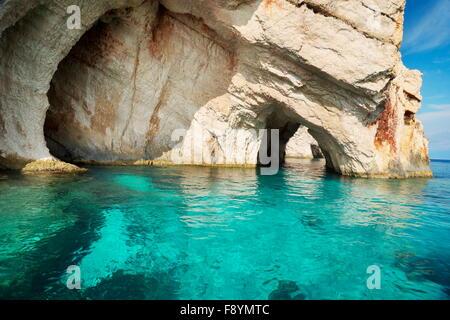 Blue Caves, Zakynthos Island, Greece - Stock Photo