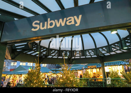 Subway entrance at Union Square with the Holiday Market in the background, NYC, USA - Stock Photo