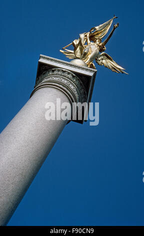 A soaring granite column topped by a gilded bronze statue of the winged figure of Victory is the First Division - Stock Photo