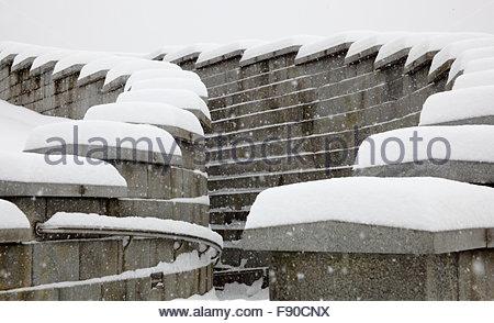 snowy scenery of Seoul Millennium Time Capsule Plaza - Stock Photo