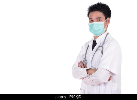 doctor with arms crossed isolated on white background - Stock Photo