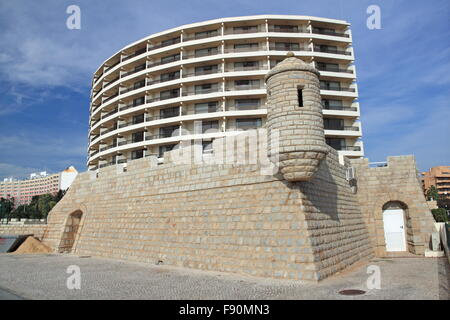 Mock fort at Hotel Vila Galé Ampalius, Alameda Praia da Marina, Vilamoura, Quarteira, Algarve, Portugal, Europe - Stock Photo