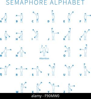 English semaphore alphabet - Stock Photo