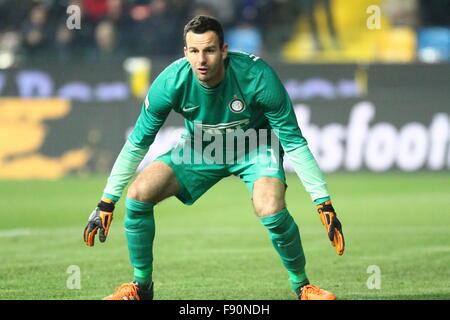 Udine, Italy. 12th December, 2015. Inter Milan's goalkeeper Samir Handanovic looks during the Italian Serie A football - Stock Photo