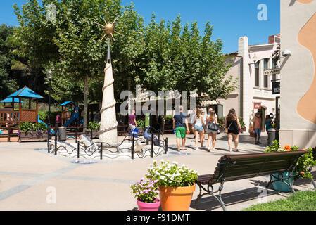 Small square in La Roca Village (Designer Outlet Shopping), La Roca del Vallès, Barcelona, Province of Barcelona, Catalonia, Spa