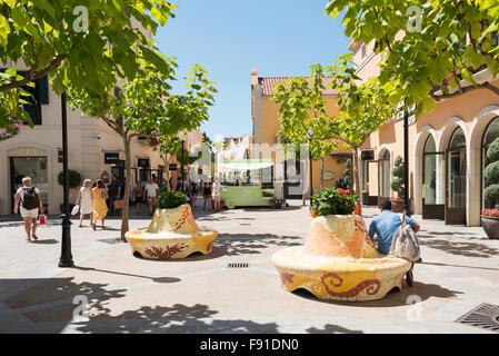 Small square at La Roca Village (Designer Outlet Shopping), La Roca del Vallès, Barcelona, Province of Barcelona, Catalonia, Spain