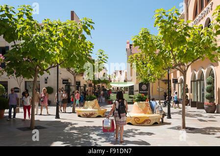 Small square at La Roca Village (Designer Outlet Shopping), La Roca del Vallès, Barcelona, Province of Barcelona, Catalonia, Spa