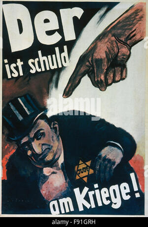 WW2 Nazi German anti Semitic poster depicting a Jewish man with prominent exaggerated nose wearing the yellow star - Stock Photo