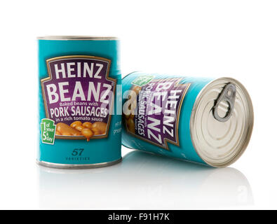 Two Tins of Heinz Beans with Pork Sausages - Stock Photo