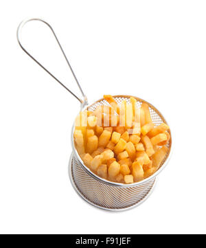 French fries in a Gastro Pub serving Basket on a white background - Stock Photo