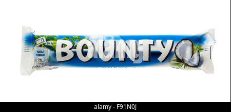 Bounty Chocolate Bar On A White Background, Bounty is Manufactured By Mars, Incorporated And Sold Internationally - Stock Photo