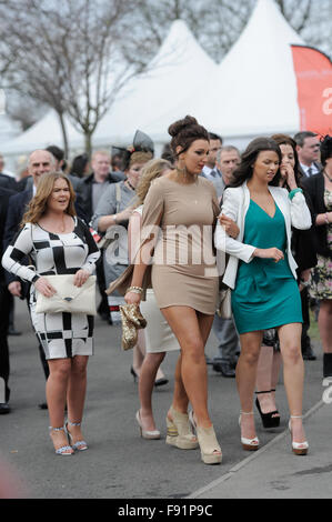 The Grand National Festival on Ladies Day. - Stock Photo