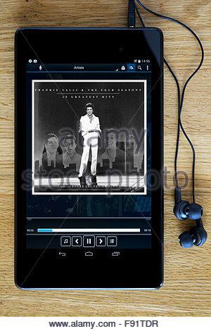 Frankie Valli greatest hits album, MP3 album art on PC tablet, England - Stock Photo