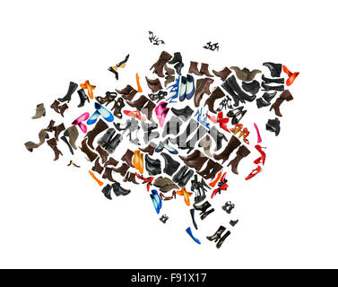 Eurasia continent made of woman shoes - Stock Photo