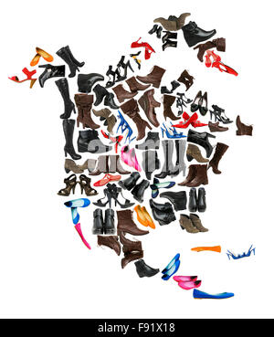 North America continent made of female shoes - Stock Photo